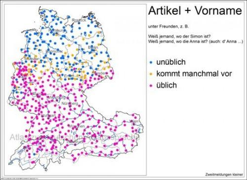 Artikel und Vorname © Atlas  zur  deutschen  Alltagssprache