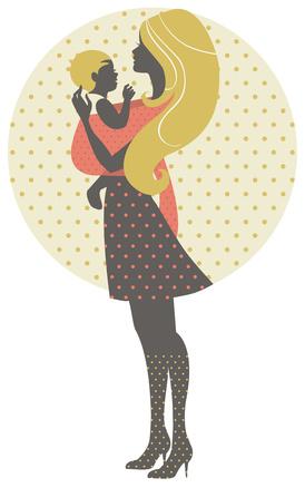 Silhouette einer Mutter mit Baby © pim - Fotolia.com