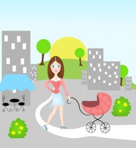 Grafik einer Frau mit Kinderwagen © sidliks - Fotolia