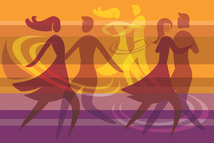 Dancing couples colorful background © jiris - Fotolia.com