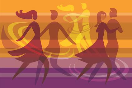 Dancing couples colorful background © jiris - Fotolia.com