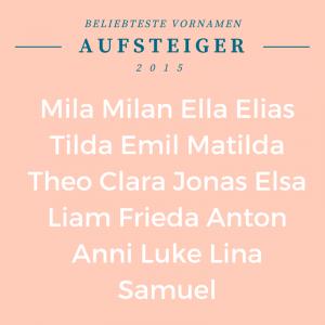 Vornamen Aufsteiger 2015