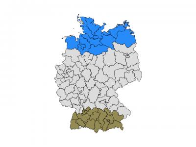 Ausgewählte Postleitregionen für den Nord-Süd-Vergleich