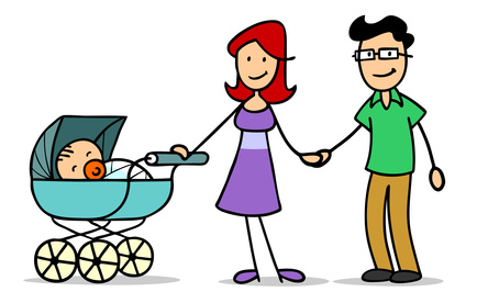 Familie mit Baby im Kinderwagen © Robert Kneschke - fotolia.com